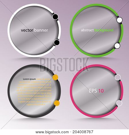 Banner with abstract round transparent with a colon - for background, set in various designs