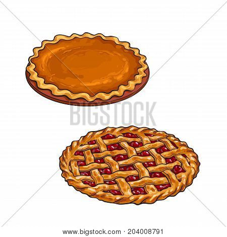 Hand drawn cherry and pumpkin pie, traditional thanksgiving dessert, sketch vector illustration isolated on white background. Sketch style, hand drawn cherry and pumkin pie for Thanksgiving dinner