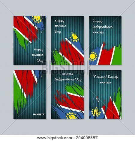 Namibia Patriotic Cards For National Day. Expressive Brush Stroke In National Flag Colors On Dark St
