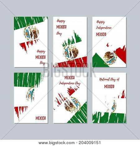 Mexico Patriotic Cards For National Day. Expressive Brush Stroke In National Flag Colors On White Ca