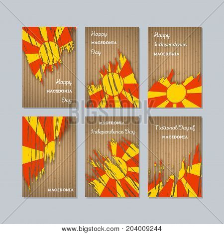 Macedonia Patriotic Cards For National Day. Expressive Brush Stroke In National Flag Colors On Kraft
