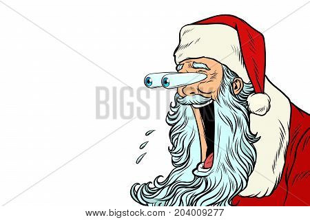 Santa Claus with bulging eyes, a surprise reaction, copy space background. New year and Christmas. Pop art retro vector illustration