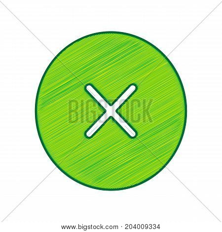 Cross sign illustration. Vector. Lemon scribble icon on white background. Isolated