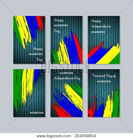 Mauritius Patriotic Cards For National Day. Expressive Brush Stroke In National Flag Colors On Dark