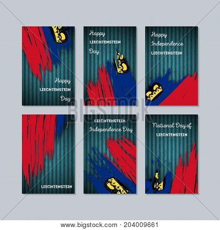 Liechtenstein Patriotic Cards For National Day. Expressive Brush Stroke In National Flag Colors On D