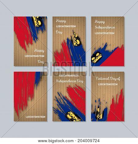 Liechtenstein Patriotic Cards For National Day. Expressive Brush Stroke In National Flag Colors On K
