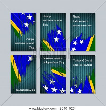 Solomon Islands Patriotic Cards For National Day. Expressive Brush Stroke In National Flag Colors On