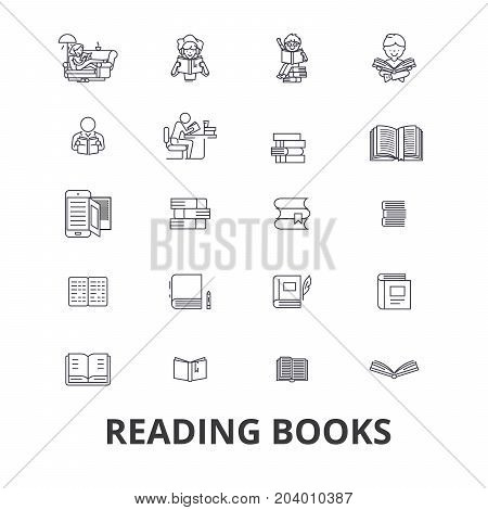 Books, open book, stack of books, bookshelf, library, read, reading book, paper line icons. Editable strokes. Flat design vector illustration symbol concept. Linear signs isolated on white background