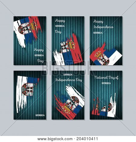 Serbia Patriotic Cards For National Day. Expressive Brush Stroke In National Flag Colors On Dark Str