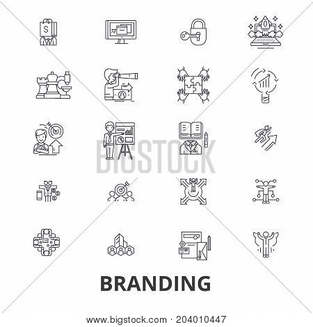 Branding, marketing, advertising, creative idea, brand, market, promotion line icons. Editable strokes. Flat design vector illustration symbol concept. Linear signs isolated on white background