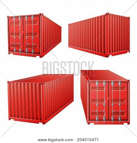 3D Cargo Container Vector. Classic Cargo Container. Freight Shipping Concept. Logistics, Transportation Mock Up. Isolated