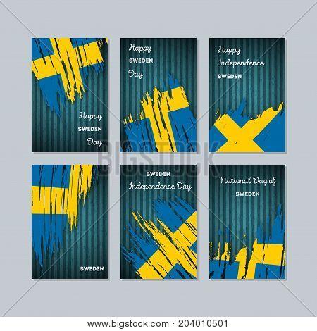 Sweden Patriotic Cards For National Day. Expressive Brush Stroke In National Flag Colors On Dark Str