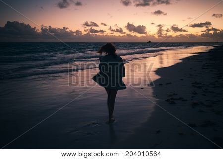 Silhouette Photo Of Girl On Atlantic Ocean Coast