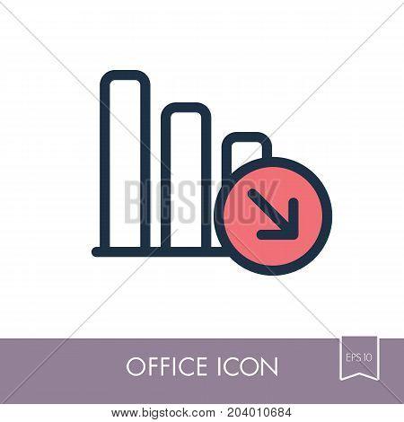 Decrease outline icon. Office sign. Graph symbol for your web site design logo app UI. Vector illustration