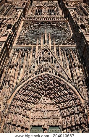 Details of the Cathedral facade, Strasbourg, France