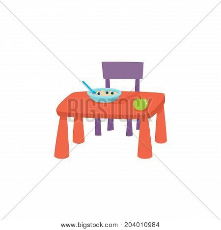 vector flat cartoon baby table and chair for having beakfast, dinner - eating with porridge plate and green apple on it. isolated illustration on a white background. Daily routine concept
