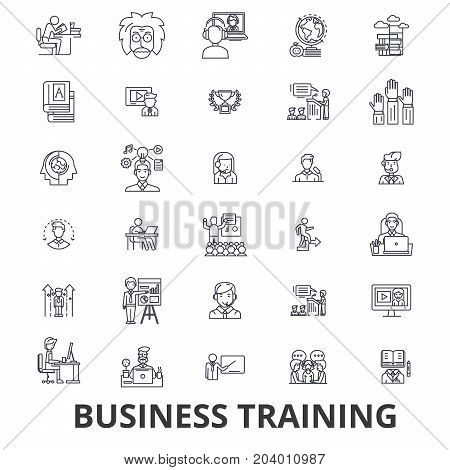 Business training, training session, learning, business meeting, presentation line icons. Editable strokes. Flat design vector illustration symbol concept. Linear signs isolated on white background
