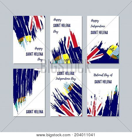 Saint Helena Patriotic Cards For National Day. Expressive Brush Stroke In National Flag Colors On Wh