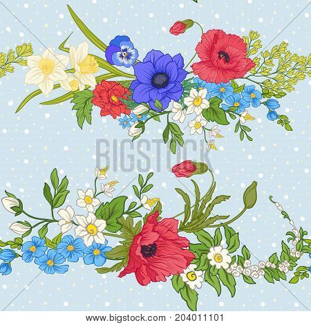 Seamless pattern with poppy flowers, daffodils, anemones, violets in botanical vintage style. On blue background with white polka dots. Stock line vector illustration.