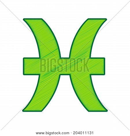 Pisces sign illustration. Vector. Lemon scribble icon on white background. Isolated