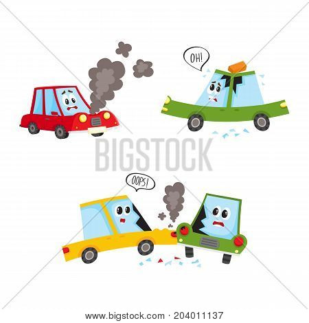vector flat accident set. Brich fallen to auto's roof, red vehicle with face and emotions broken, smoke going from hood, yellow car crashed into green from side. Isolated illustration