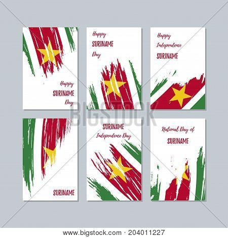 Suriname Patriotic Cards For National Day. Expressive Brush Stroke In National Flag Colors On White