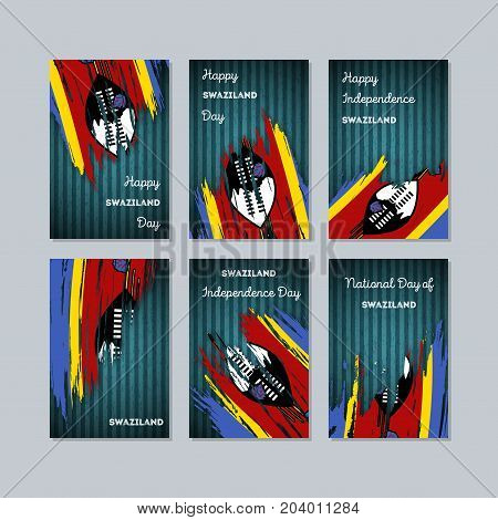 Swaziland Patriotic Cards For National Day. Expressive Brush Stroke In National Flag Colors On Dark