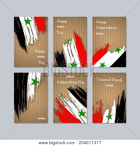 Syria Patriotic Cards For National Day. Expressive Brush Stroke In National Flag Colors On Kraft Pap