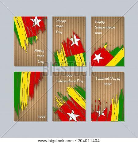 Togo Patriotic Cards For National Day. Expressive Brush Stroke In National Flag Colors On Kraft Pape