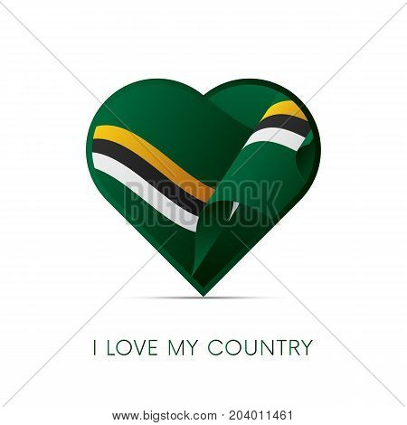 Dominica flag in heart. I love my country. sign. Vector illustration.