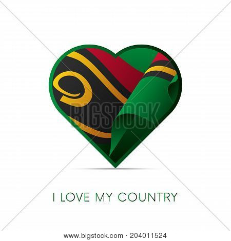 Vanuatu flag in heart. I love my country. sign. Vector illustration.