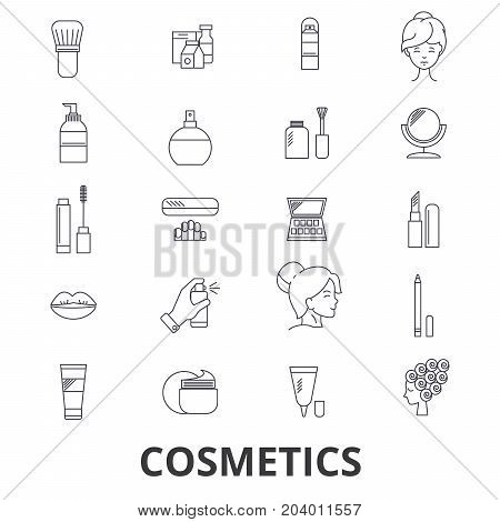 Cosmetics, beauty, makeup, lipstick, perfume, cosmetic bottle, cream, product line icons. Editable strokes. Flat design vector illustration symbol concept. Linear signs isolated on white background