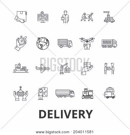 Delivery, food, free delivery, courier, truck, pizza delivery, transportation line icons. Editable strokes. Flat design vector illustration symbol concept. Linear signs isolated on white background