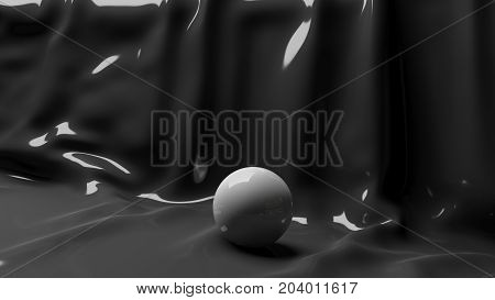 3d Illustration Brilliant White Ball on a Black Background