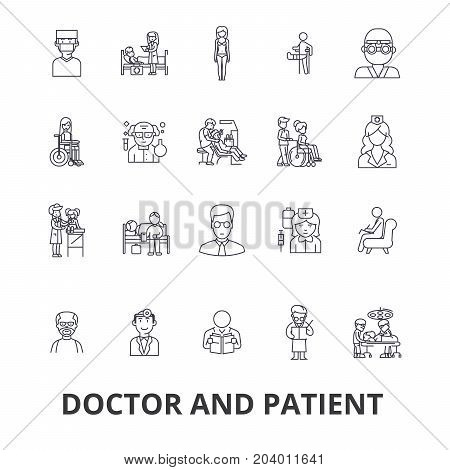 Doctor and patient, cabinet, medical, hospital, consultation, nurse, healthcare line icons. Editable strokes. Flat design vector illustration symbol concept. Linear signs isolated on white background