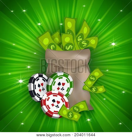 Casino banner, poster design with money bag and gambling chips, tokens, falling dollars, vector illustration. Casino, gambling chips tokens money bag and and dollars, banner, poster, postcard design