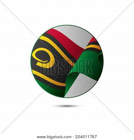 Vanuatu flag button with shadow on a white background. Vector illustration.