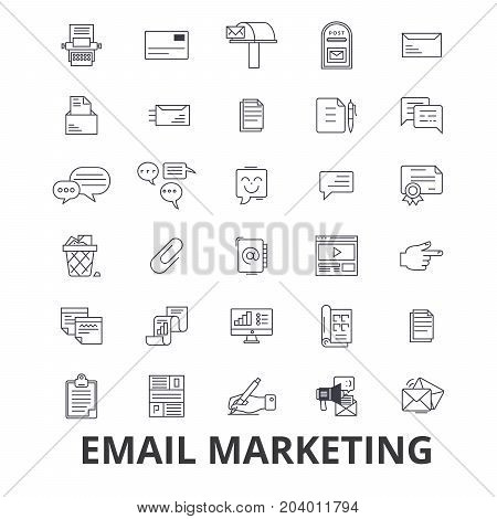 Email marketing, posting, social media, newsletter, internet, online, blog line icons. Editable strokes. Flat design vector illustration symbol concept. Linear signs isolated on white background