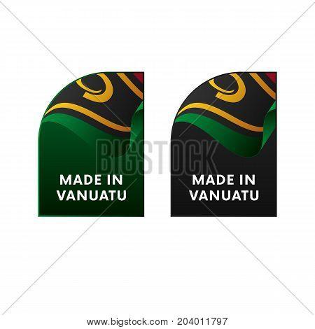 Stickers Made in Vanuatu. Waving flag. Vector illustration.