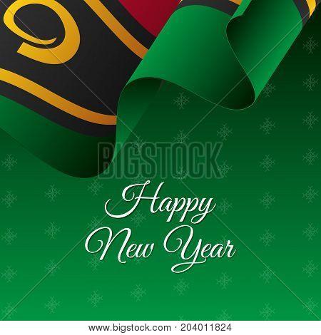 Happy New Year banner. Vanuatu waving flag. Snowflakes background. Vector illustration.