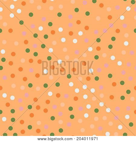 Colorful Polka Dots Seamless Pattern On Bright 14 Background. Unusual Classic Colorful Polka Dots Te