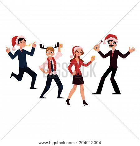 People having fun, drinking champagne, wearing Santa Claus hats, celebrating Christmas at corporate Xmas party, cartoon vector illustration isolated on white background. Corporate Christmas party
