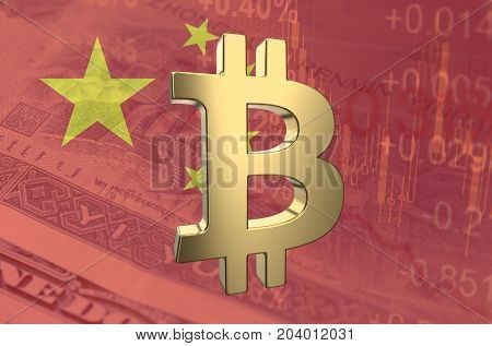 Bitcoin symbol, with the financial data and Chinese flag visible in the background. 3D rendering.