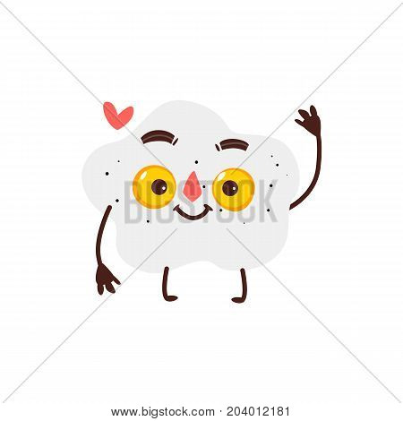Funny smiling fried sunny side up egg character with two yolks, cartoon vector illustration isolated on white background. Funny fried egg with two yolks, smiling breakfast character