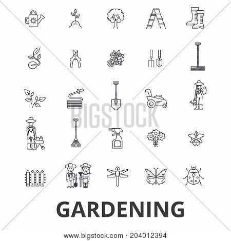 Gardening, flower, garden tools, vegetable, grass, landscape, plant, park, tree line icons. Editable strokes. Flat design vector illustration symbol concept. Linear signs isolated on white background