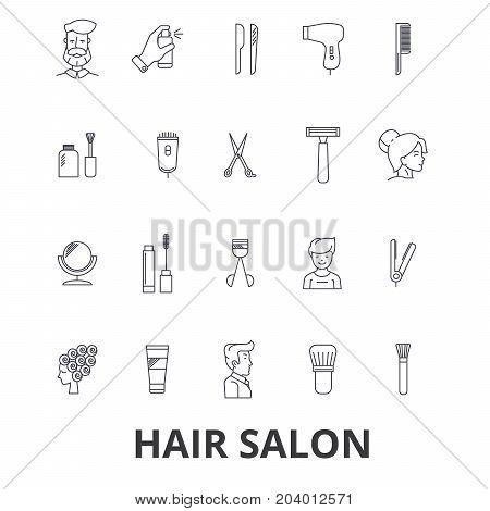 Hair salon, hair style, hairdresser, model, beauty salon, hair stylist, hair cut line icons. Editable strokes. Flat design vector illustration symbol concept. Linear signs isolated on white background