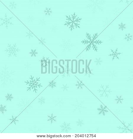 Blue Snowflakes Seamless Pattern On Turquoise Christmas Background. Chaotic Scattered Blue Snowflake