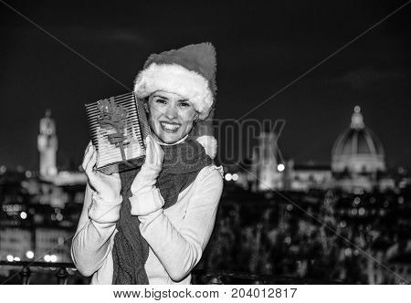 Woman At Piazzale Michelangelo Showing Christmas Present Box