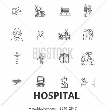 Hospital, doctor, medical, healthcare, nurse, health, hospitality, patient line icons. Editable strokes. Flat design vector illustration symbol concept. Linear signs isolated on white background
