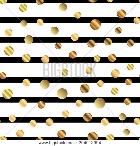 Golden Dots Seamless Pattern On Black And White Striped Background. Ideal Gradient Golden Dots Endle